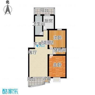观山小筑(燕水佳园)117.55㎡D户型二室二厅一卫户型