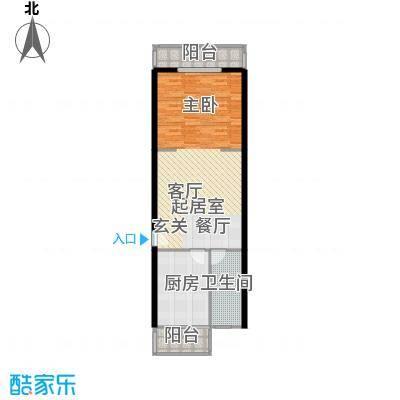 兴谷嘉和76.87㎡一室一厅一卫户型