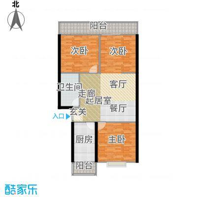 兴谷嘉和106.38㎡三室一厅一卫户型