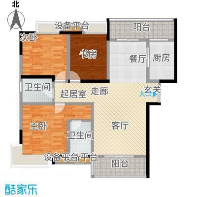 锦上华庭铭邸三期1-4栋3号房标准层揽景豪宅赠送户型3室2卫1厨