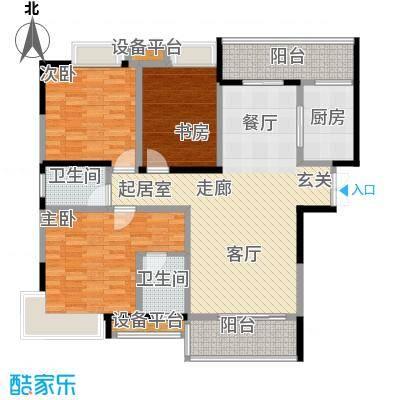 锦上华庭铭邸户型3室2卫1厨