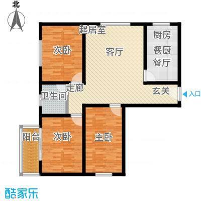 锦绣范阳105.67㎡H1户型3室2厅1卫