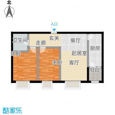 香邑溪谷83.00㎡A6户型两室两厅一卫户型2室2厅1卫-T