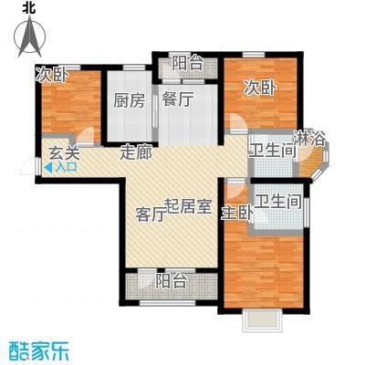 香邑溪谷126.00㎡A4户型三室两厅两卫户型-T