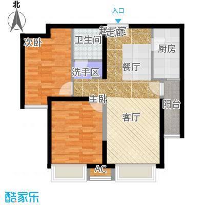 泰禾・拾景园B户型 两室两厅一卫户型2室2厅1卫
