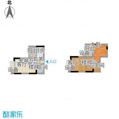 首创i HOME2号楼16号房 1室2厅2卫1厨63.18㎡户型
