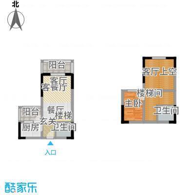 首创i HOME2号楼1号房 1室2厅2卫1厨54.06㎡户型