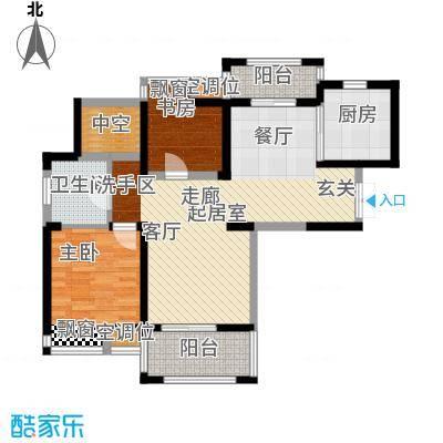 世茂香槟湖85.00㎡30#、31#、35#M户型两房两厅一卫户型2室2厅1卫
