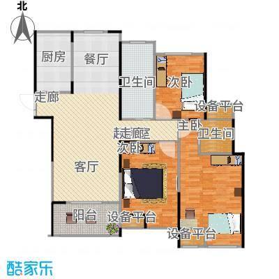 天润国际花园135.00㎡5号楼F户型三房二厅二卫135平米户型3室2厅2卫