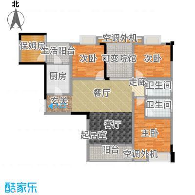 渝能幸福山房106.04㎡三室两厅双卫 约106.04平米户型