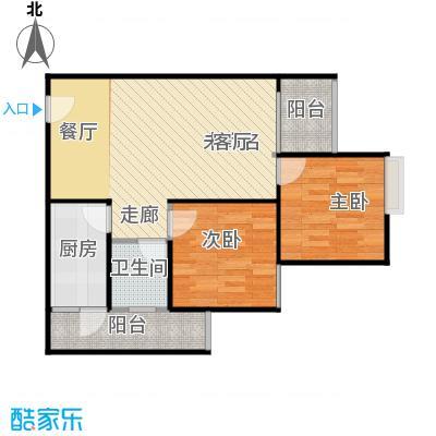 骏逸第一江岸孔雀湾二期11号楼D户型2室1卫1厨