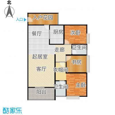 骏逸第一江岸孔雀湾二期11号楼F户型3室2卫1厨