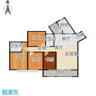 骏逸第一江岸孔雀湾二期12号楼A户型4室2卫1厨