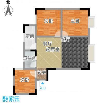 绿洲龙城(一期)79.35㎡房型: 三房; 面积段: 79.35 -79.35 平方米;户型