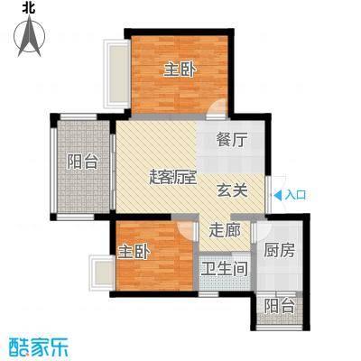 万达广场74.12㎡J栋4、5号房户型2室1卫1厨