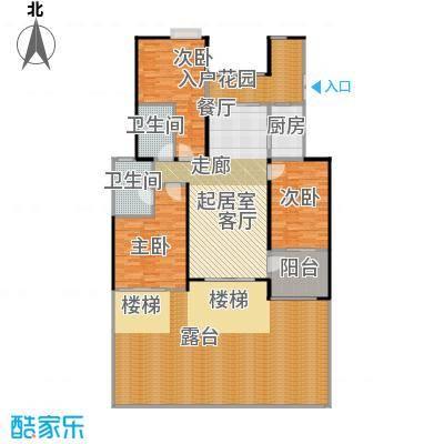 天景雨山前三期108.00㎡三期进山洋房平层中间3-B户型3室2卫1厨