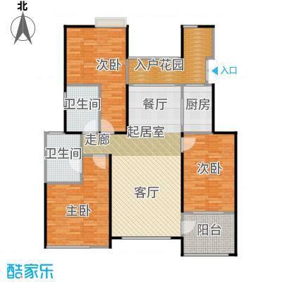 天景雨山前三期108.00㎡三期进山洋房3-D户型3室2卫1厨