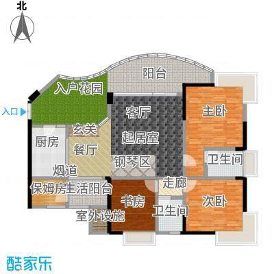 海棠晓月・怡景天域(二期)122.00㎡三房二厅二卫-套内面积约130平方米户型