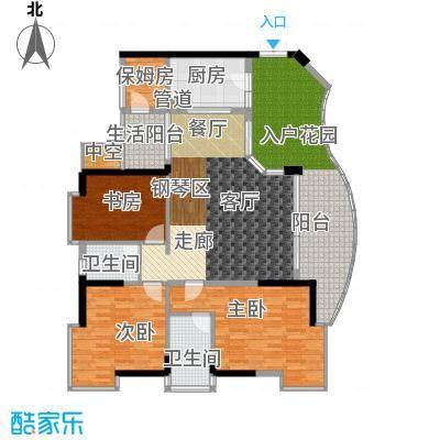 海棠晓月・怡景天域(二期)122.00㎡三房二厅二卫-套内面积约120平方米户型