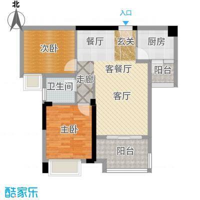 富州新城D街区A-4双卫户型2室1厅1卫1厨