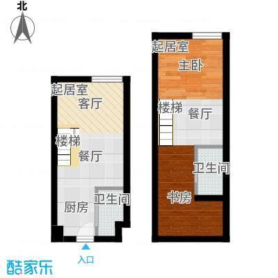 香城壹号42.24㎡C1户型 两室两厅两卫户型2室2厅2卫