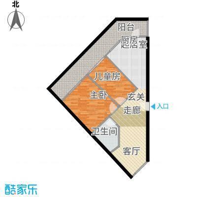 兴谷嘉和78.14㎡二室一厅一卫户型