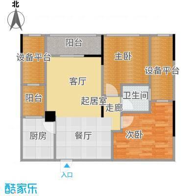 两江铂金时代54.41㎡单体楼标准层A2户型2室1卫1厨