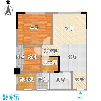 两江铂金时代48.07㎡单体楼标准层A1户型2室1卫1厨