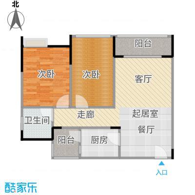 两江铂金时代53.19㎡单体楼标准层A10户型2室1卫1厨
