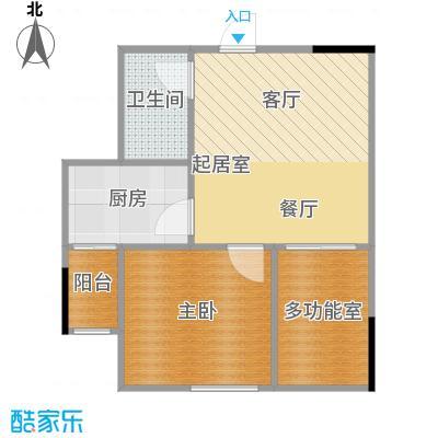 两江铂金时代38.55㎡单体楼标准层A5户型1室1卫1厨