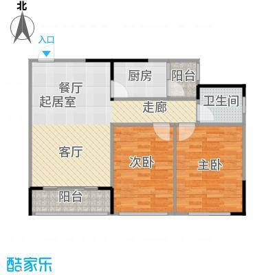 两江铂金时代60.56㎡单体楼标准层A4户型2室1卫1厨