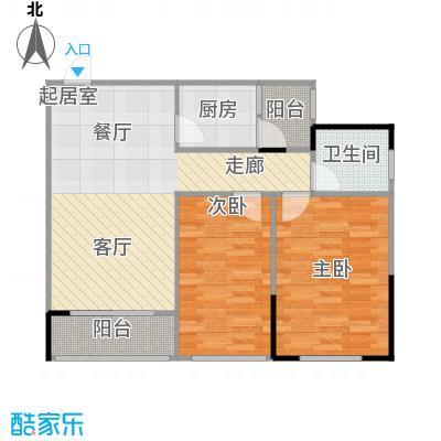 两江铂金时代58.51㎡单体楼标准层A6户型2室1卫1厨