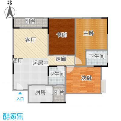 两江铂金时代80.05㎡单体楼标准层A3户型3室2卫1厨