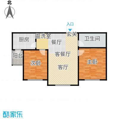 牡丹城户型2室1厅1卫1厨