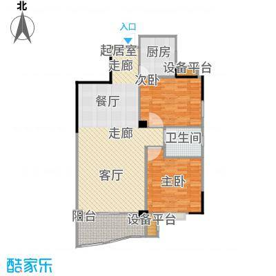 华江.乐天花亭K户型 两室两厅一卫 93.97平方米户型