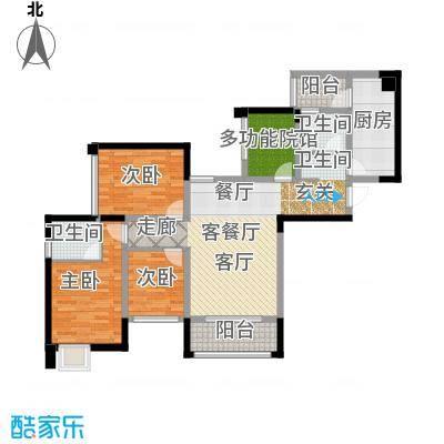 东原D7区H双卫+多功能院馆户型3室1厅2卫1厨