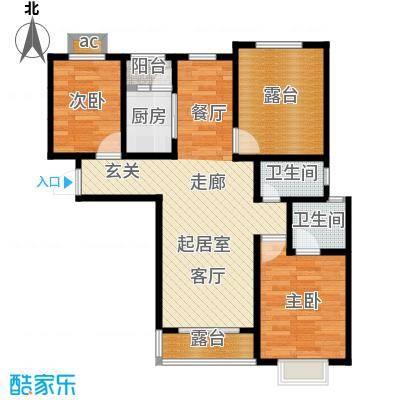 公园世家・观山樾101.77㎡C3户型 两室两厅两卫户型2室2厅2卫