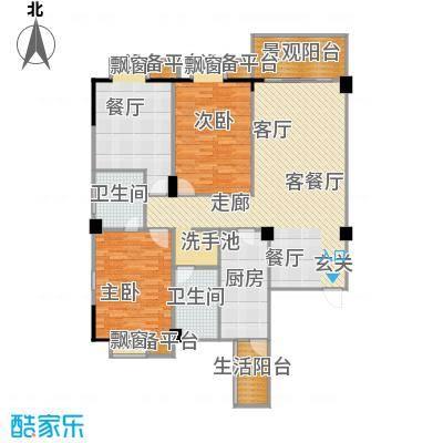 一品金子湾119.93㎡A户型3室2厅1卫户型3室2厅1卫
