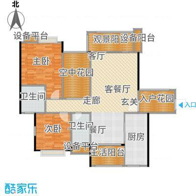 金地亚120.00㎡A1/A3户型 二房二厅二卫户型2室2厅2卫