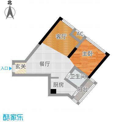 中驰・半岛荟景二期5号房 1室2厅1卫1厨41.29㎡户型