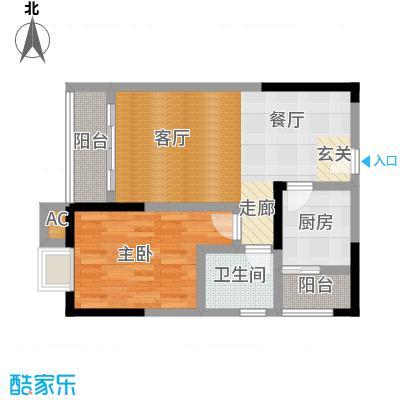 中驰・半岛荟景二期8号房 1室2厅1卫1厨46.68㎡户型