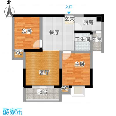 中驰・半岛荟景二期2号房 2室2厅1卫1厨60.05㎡户型