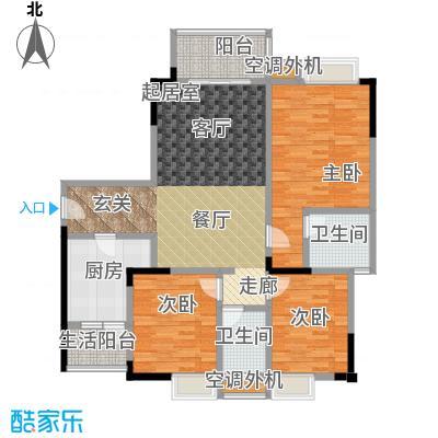 渝能幸福山房101.87㎡C户型三室两厅双卫户型3室2厅2卫
