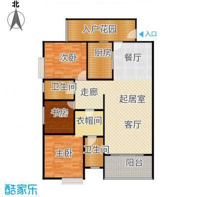 骏逸第一江岸孔雀湾二期11号楼E户型3室2卫1厨