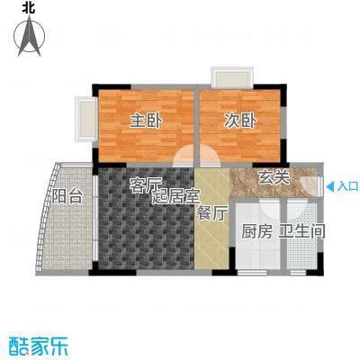 绿洲龙城(一期)65.40㎡房型: 二房; 面积段: 65.4 -72.06 平方米;户型