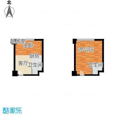 万达广场67.27㎡26克拉公寓C栋1号、22号房户型2卫