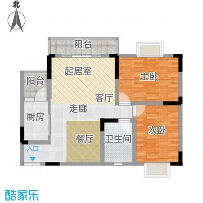 兴现金鼎龙泉77.67㎡B-3-4(已售完)户型2室1卫1厨
