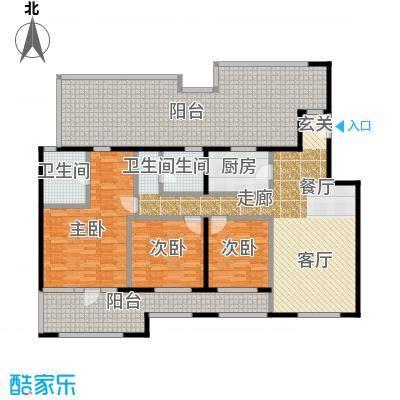 中国铁建・花语城126.00㎡楼王3-J6户型3室2卫1厨