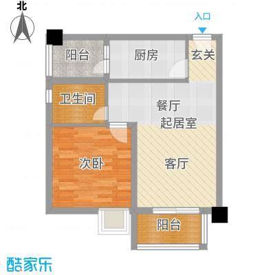 港腾御景江山1号楼A户型1室1卫1厨