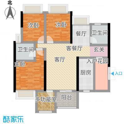 时代倾城117.00㎡三室二厅二卫户型3室2厅2卫